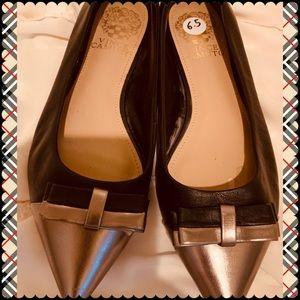 Black & Gold Vince Camuto Flats
